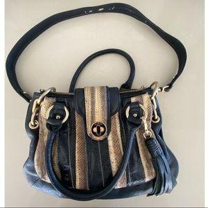 Botkier Black and Snakeskin Leather Handbag